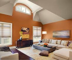 Living Room Theater North Bennington Trendy Living Room Paint Color Idea With Orange Painted Wall And