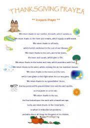 worksheet thanksgiving iroquois prayer