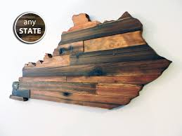 wood state rustic wood state cut out large state cutout wood state