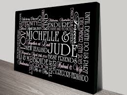 wedding gift personalised personalised canvas word and wedding wall gift ideas