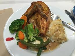 cuisine ik2a roasted chicken breast steamed veggies mashed potatoes with gravy