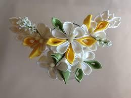 kanzashi hair pin ivory yellow lime green kanzashi flowers hair pins flickr