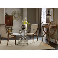 round glass top dining table with plated metal base by hooker