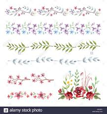 Borders For Wedding Invitation Cards Vector Watercolor Floral Frame Border Set Of Cute Retro Flowers