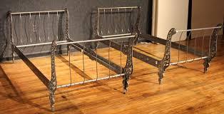 Metal Sleigh Bed Pair Of Twin Metal Sleigh Beds At 1stdibs