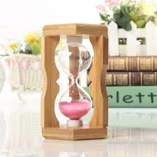 Hourglass Home Decor 1 Minute Sandglass Bamboo Frame Hourglass Timer Time Counting Home