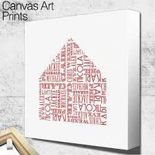name shape house personalised canvas wall art canvas wall art