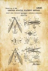 Cabin Decor Surface Fishing Lure Patent Patent Print Wall Decor Fishing