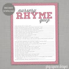 nursery rhyme baby shower nursery rhyme quiz baby shower pink