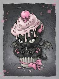 bat kitty cupcake dark cute dark gothic creepy and fascinating