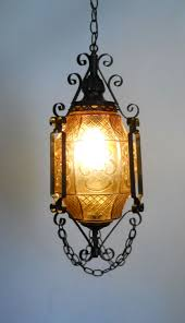 Chandelier Swag Lamp Gothic Lantern Amber Art Glass And Wrought Iron Swag Hanging