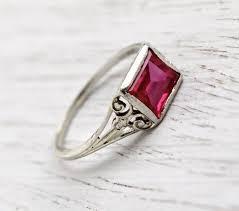 antique art deco 18k white gold filigree pink stone ring size 7