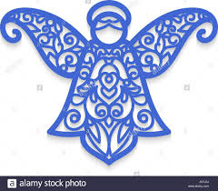 christmas angel with pattern vector laser cutting template for