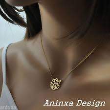 three initial monogram necklace 14k monogram jewelry watches ebay