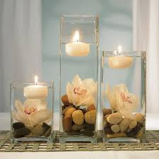 Holiday Table Decorating Decorations 3 Clear Glass With Floating Candle Light Holiday