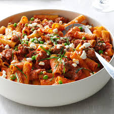 rigatoni with sausage u0026 peas recipe taste of home