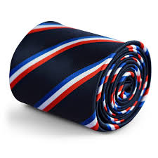 White Blue Orange Flag Navy Tie With French Flag Red White And Blue Design