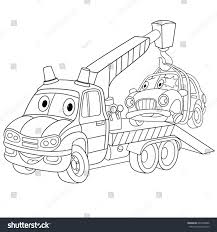 coloring page cartoon tow truck evacuator stock vector 697486006