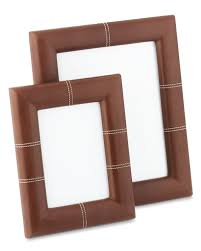 leather picture frames stitched leather picture frame williams sonoma