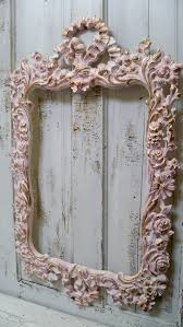 Vintage Shabby Chic Home Decor by Large Vintage Pink Frame Ornate White Accented Gold Shabby Chic