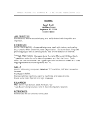 resume job objectives resume with volunteer experience template resume for your job