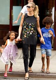 Flower Power Nyc - heidi klum has the flower power in a floral tasseled tunic as she
