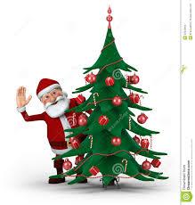 santa behind christmas tree stock photos image 22033863