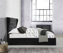 Ottoman Bed Black Chesterfield Wingback Ottoman Bed Frame Black Crushed Velvet 150cm
