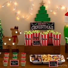 Stage Decoration For Christmas Party by Snowflakes And Snowman Tablescape Backdrop Party City