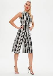 high neck jumpsuit black stripe high neck jumpsuit missguided