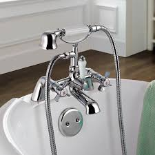 ibathuk traditional chrome bath filler mixer tap vintage hand