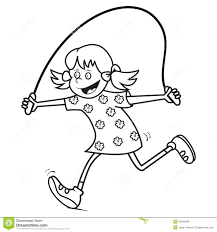 kids and sport gymnastics running coloring page stock