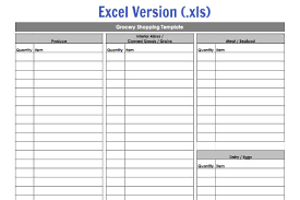 Shopping List Template Excel Grocery Shopping Template My Routine 100 Days Of Food