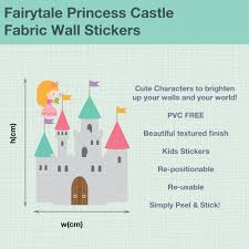fairytale castle and princess fabric wall stickers kids houzz fairytale castle and princess fabric wall stickers