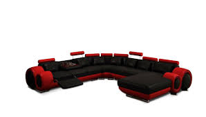 modern black and red sectional sofa