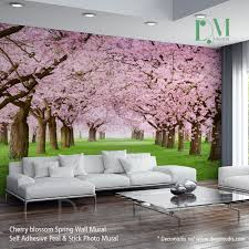nature wall mural chery blossom pathway on a green lawn cherry nature wall mural chery blossom pathway on a green lawn cherry blossom photo mural self bedroom muralswall muralschildrens