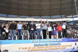 presidente inaugura segunda fase de los juegos cochabamba inauguró la segunda fase de los juegos plurinacionales