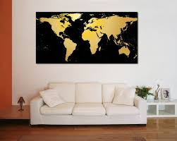 black gold world map 860 canvas print zellart canvas arts black gold world map 860