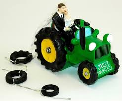 tractor wedding cake topper and groom green tractor