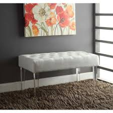 linon home decor ella white glitz bench 368261gltz01 the home depot