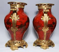 Red Lacquer Vase A Large Pair Of Antique French Transitional Period Red Lacquer