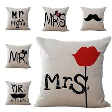 mr and mrs pillow new mr mrs pillow cover linen printing square pillow cover home