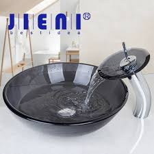 Clear Glass Bathroom Sinks - black transparence round tempered clear glass vessel sink with
