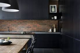 Black Kitchen Wall Cabinets Stylish Black Kitchen Design With Mounted Wall Cabinet Hupehome