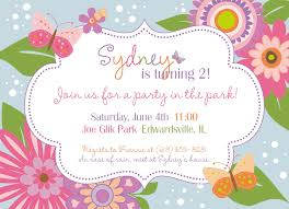 2nd Birthday Invitation Card Flowers And Butterflies Garden Party Custom Printable Birthday