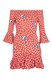 topshop dress floral frill bardot dress topshop