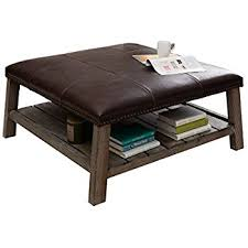 Leather And Wood Coffee Table Antonio Vintage Tobacco Leather Coffee Table Solid