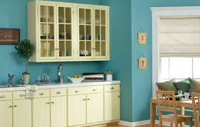 appealing light blue kitchen paint over smooth plaster walls with