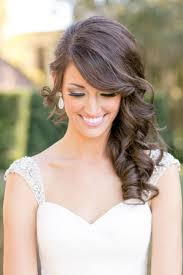 curly side swept hairstyle for the bride hair pinterest side