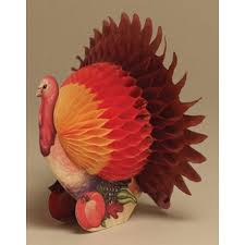 pack of 6 small thanksgiving harvest honeycomb tissue paper turkey